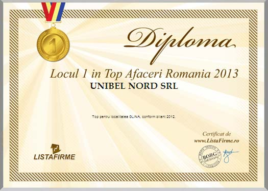 Unibel Nord (Bella Romania) - Diploma (2013)