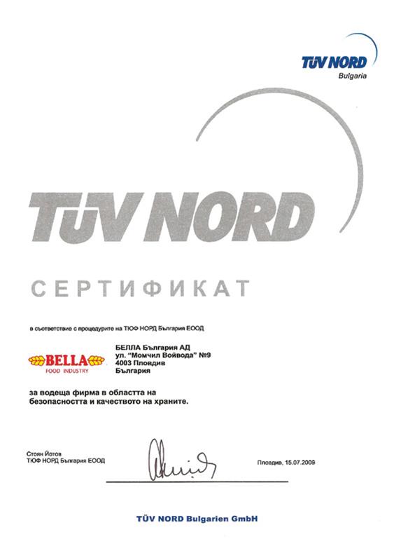Bella Tuv Nord Certificate